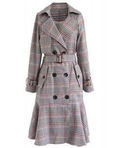 Red Plaid Frilling Hem Double-Breasted Belted Coat
