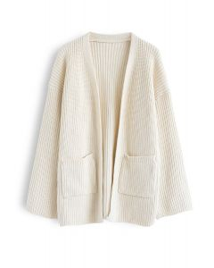 Pockets Front Knit Cardigan in Ivory