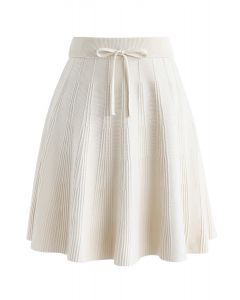 Bowknot Waist Radiant Lines Knit A-Line Skirt in Cream
