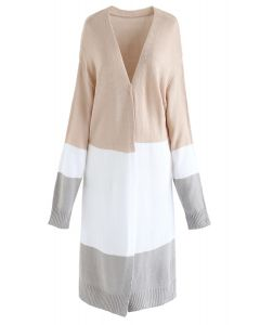 Color Blocked Longline Knit Cardigan in Light Tan