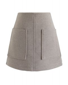 淺褐色口袋裝飾迷你裙