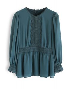 Wavy Lace Trimmed Chiffon Peplum Top in Teal