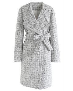 Raw Edges Open Front Belted Tweed Longline Coat