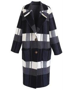 Color Blocked Pockets Longline Knit Coat