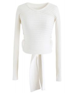 Bowknot Back Crop Ribbed Knit Top in White