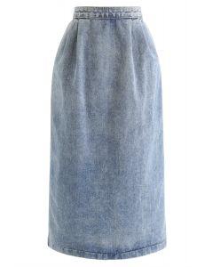 Zip Back Slit Hem Light Wash Denim Pencil Skirt