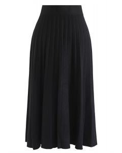 Parallel A-Line Knit Midi Skirt in Black
