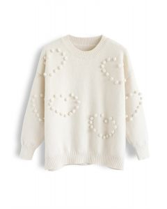 Pom-Pom Embellished Knit Sweater in Ivory
