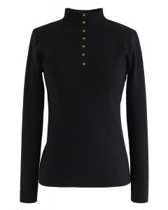 Buttoned Mock Neck Fitted Knit Top in Black