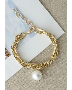 Pearl Decor Gold Chain Bracelet