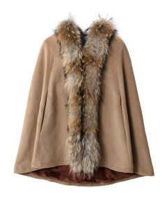 Luxury Khaki Detachable Fur Hooded Cape