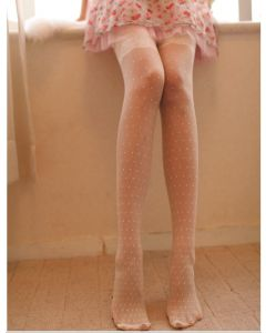 Lacy Sweet Dots Tights in White