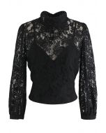 Floral Lace Open Back Crop Top in Black