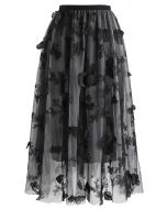 3D Butterfly Double-Layered Mesh Midi Skirt in Smoke