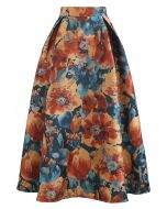 Painting Floral Flare Jacquard Skirt