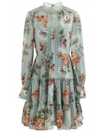 Floral Print Crochet Trim Frilling Chiffon Dress in Green