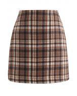 Plaid Wool-Blend Bud Skirt in Tan