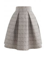Shimmery Embossed Check Pleated Skirt in Tan