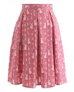 Floral and Stripes Jacquard Pleated Skirt