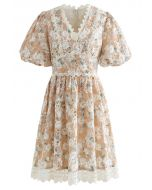 Apricot Flower Embroidered Button Decorated Dress