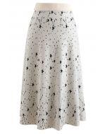 Starry Sky A-Line Knit Midi Skirt in Ivory