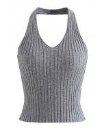Halter Neck Crop Knit Top in Grey