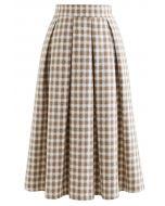 Plaid Print Wool-Blend Pleated Midi Skirt in Light Tan