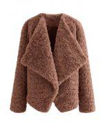 Wide Lapel Snug Faux Fur Coat in Caramel