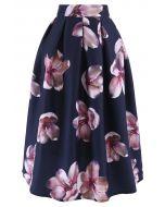 桃花圖案中長裙-海藍色