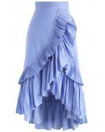 不對稱荷葉邊曡層半身裙-藍條紋