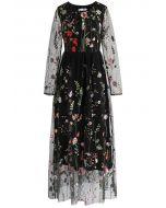 花卉刺繡網紗連身裙-黑色