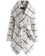 簡約格子披肩外套-白色