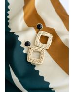 Square Rattan Straw Earrings