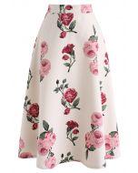 粉色花卉半身裙