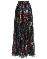 熱帶印花半身長裙--黑色