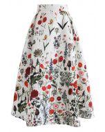 花卉印花壓花中長半身裙